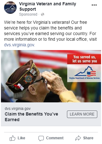 Virginia Department of Veterans Services Facebook Ad